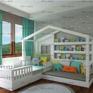Кровать Домик №30 (для двоих детей), любые размеры